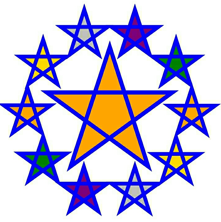 colored five point stars